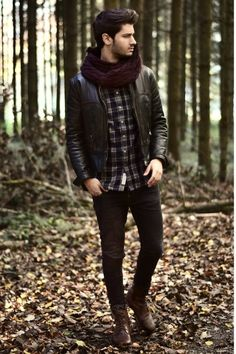 #H #Boots #scarf #leather #jacket #Denim #jeans #button #up #shirt #hair #men #fashion #style by stacy