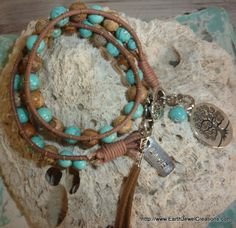 Turquoise & Jasper Double Wrist Wrap - handmade crystal energy gemstone jewellery Earth Jewel Creations Australia