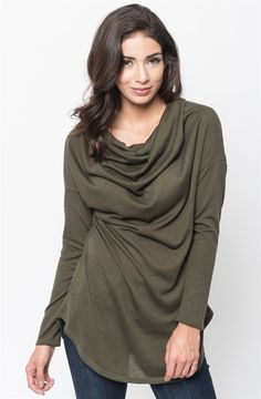 Effortlessly slouchy, with a plenty long hem and a cowl neckline. This pullover is so, so easy to wear. We are especially into clothes that have a luxurious look and feel without having to sweat about what to wear tomorrow... or even the day after.