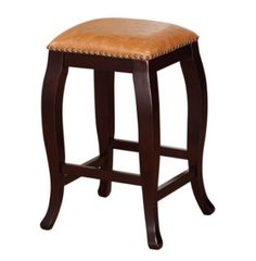 Square Counter Top Stool Modern Kitchen Furniture Caramel PU Top Wenge Finish