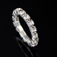 1piece Bright Silver Plated Elastic Imitation Diamond Rings. Shining Full Crystal Rhinestone finger Rings for women jewelry