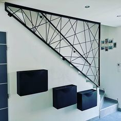 Modern railing for steel stairs. Made to order and made to measure. Contact us for more information. Modern Stair Railing, Stair Railing Design, Staircase Railings, Modern Stairs, Timber Stair, Staircase Ideas, Steel Stairs, Interior Stairs, House Stairs