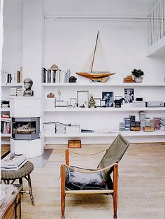 Elle Decor {white rustic vintage modern living room}