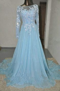 Elegant blue chiffon long modest prom dress with sleeves, ball gown 2016