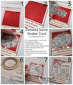 Step by Step how to make the Stampin Up Shaker card featuring Detailed Santa thinlit dies, glimmer paper, glitter and mica flakes. by Patty Bennett www.Pattystamps.com