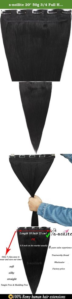 """s-noilite 20"""" 50g 3/4 Full Head 1 Piece 5 Clips Clip in Remy Human Hair Extensions Silky Straight #1B Black. Grade AAAAA - 100% Real Remy Human Hair Extensions Attention: Brand:S-noilite® The United States Trustworthy Brand.We have NOT AUTHORIZED any other sellers to sell our products. We promise you that our remy human hair extensions are 100% made from real human hair,they are soft, silky, straight tangle free & shedding free,and reusable! Kindly Remind:if you have thick hair,we suggest..."""