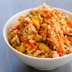 Picadillo Fried Rice - a quick Cuban-inspired stir-fry using leftover picadillo and roasted poblano pepper