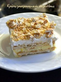 gr 2017 06 syntagi-millefeuille-me-cream-crackers-kai-anthos-aravositou. Greek Sweets, Greek Desserts, No Cook Desserts, Party Desserts, Summer Desserts, Sweets Recipes, Greek Recipes, Desert Recipes, Baking Recipes