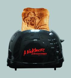 A Nightmare on Elm Street Toaster... Your horror collection is not complete until you celebrate surviving a nights sleep with a piece of toast adorning the likeness of Krueger himself.. AVAILABLE FOR PRE-ORDER @ http://www.urban-collector.com/nightmare-on-elm-st-toaster-apr131095.html