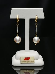 18Kt Gold and South Sea Earrings by Donna Pizarro from her Collection of Fine Fashion Jewelry and Pearl Jewelry