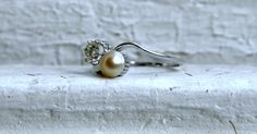 Wonderful Antique Platinum Diamond and Pearl Twin by GoldAdore