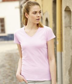 8963834067c Fruit of the Loom Lady Fit Value V Neck T-Shirt Fruit Of The Loom