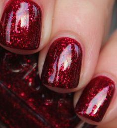 Perfect dark sparkly red - so festive. via purrrpolish ~: Essie - Leading Lady Need this for Christmas!  ||  | Ledyz Fashions www.ledyzfashions.com
