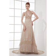 Champagne Halter Organza Chapel Train Embroidery A-line Wedding Dress $119.20