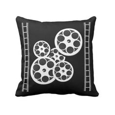 Home Movie Theater Throw Pillow with Film Reels ($33) ❤ liked on Polyvore featuring home, home decor, throw pillows, movie home decor, home theater decor, quote throw pillows, round throw pillows and inspirational home decor