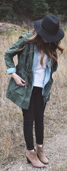 green jacket + denim