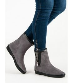 Kylie Suede Wellington Boots With Decorative Zip grey Ladies Wellies, Soft Heels, Types Of Heels, Wellington Boot, Sports Jacket, Kylie, Winter Fashion, Ankle, Zip