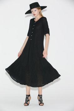 Black Linen Dress Elegant Long Shirt-Style by YL1dress on Etsy