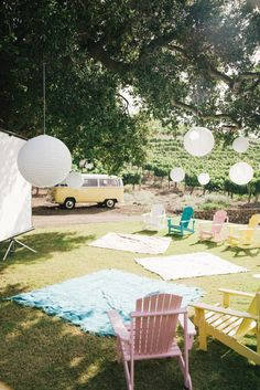 Outdoor movie theater at Eileen & Tyler's Movie Themed Saddlerock Ranch Wedding | Sweet Little Photographs