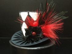 Black and White Mad Hatter Mini Top Hat. Great for Birthday Parties, Tea Parties, Photo Prop, Girls Night Out and Much More. First Birthday Hats, Birthday Party Hats, Tea Party Hats, Tea Parties, Mad Hatter Costumes, Mad Hatter Party, Mad Hatter Tea, Mad Hatters, Top Hats For Women