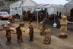 South Dakota Chainsaw Bear Carving in progress