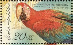 Birds on stamps: Czech Republic,   Red-and-green Macaw    Ara chloropterus	,2004