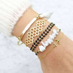 Pompom Gold/White Bracelet - Majolie   - 1