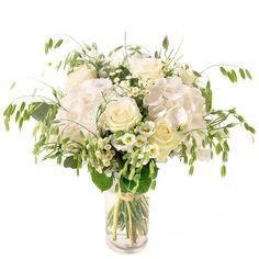 Bouquet champêtre de roses, hortensias et fleurs variées blanches | Interflora