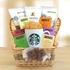 Starbucks Daybreak Coffee Gift Basket, Let this gift inspire good feeling and a fresh outlook with all the ingredients for a great day. Enjoy Sumatra coffee, Caffe Verona or Starbucks delicious House Blend in your personal Starbucks logo . Starbucks Gift Baskets, Coffee Gift Baskets, Wine Gift Baskets, Gourmet Gifts, Food Gifts, Gourmet Recipes, Tea Gifts, Coffee Gifts, Coffee Coffee