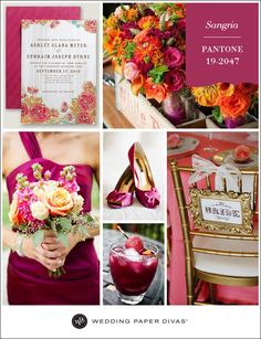 Pantone Sangria Deep Pink Wedding Inspiration Board on the Wedding Paper Divas blog today. #wedding #invitations