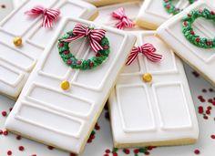 Galletas decoradas de puertas navideñas
