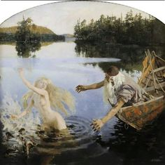 Akseli Gallen-Kallela (Finnish painter) 1865 - 1931 Aino-taru (Aino Myth), 1891 oil on canvas, triptych Ateneumin Taidemuseo (Ateneum Art Museum), Helsinki, Finland Singing Contest, Digital Museum, Pre Raphaelite, Gods And Goddesses, Akita, Folklore, Pagan, Art Museum, Mythology