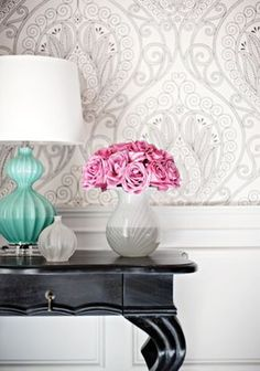 If don't go for all gray walls, white + gray wallpaper would be a good alternative to brighten up a room