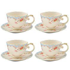Grace's Tea Ware Vintage Blue Rose Porcelain 7 oz. Tea Cup and Saucer
