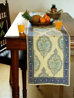 Morning Dew ~ Luxury Yellow Blue Table Runner