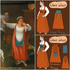 Flemish dress thoughts based on Peasant Wedding image by Martin Van Cleve. -- very useful post on clothing and even hair from 1550-75!!