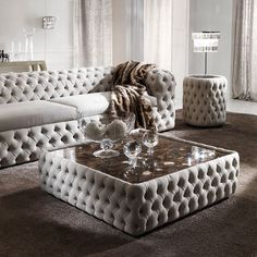 Modern Button Upholstered Nubuck Leather Square Coffee Table