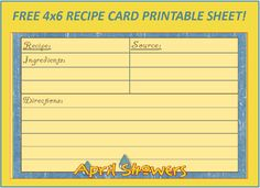 Menu Plan Monday: Free April Showers 4×6 Recipe Card!