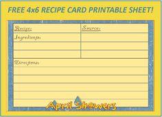 Menu Plan Monday: Free April Showers 4×6 Recipe Card!