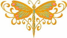 Celtic Dragonfly machine embroidery design Butterfly Embroidery, Janome, Machine Embroidery Designs, Celtic, Needlework, Harp, Bugs, Cover, Awesome