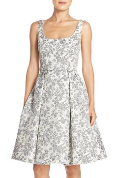 Maggy London Floral Brocade Fit & Flare Dress