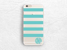 Tiffany blue Striped Personalized transparent clear phone case for iPhone 6 5 5s, LG G3, Sony z3, HTC One m8, Monogrammed clear phone cover