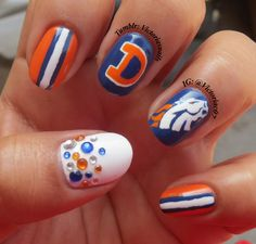 I'm still not much of a football fan, but they're going to the Super Bowl so why not do some Broncos nails? I think they're pretty cute :) Colors used: OPI - Dating A Royal Zoya - Purity Essie - Fear or Desire Nail Designs 2015, Cute Nail Designs, Cute Nails, Pretty Nails, Fancy Nails, Denver Broncos Nails, Hair And Nails, My Nails, Football Nail Art