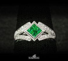 Tsavorite garnet and diamonds in 18kw by designer Simon G.  30% OFF