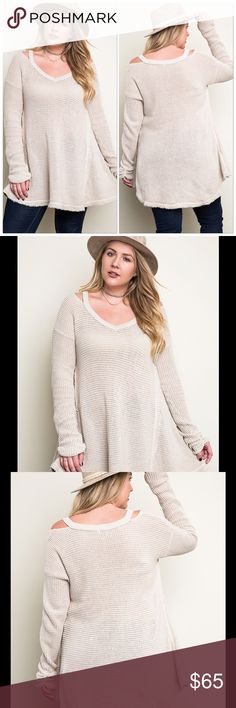 Plus Size Waffle Knit Tunic Top W Cutout Shoulder New ArrivalSuper Cute And Flattering Stone V-neck Waffle Knit Sweater Tunic Top With Peekaboo Cold Shoulder Cutout, Ruched/Gathering @ The Bottom Of Sleeves And Raw Hemlines Tops Tees - Long Sleeve