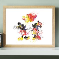 Disney Mickey Mouse Wedding print,Disney Mickey Minnie watercolor Poster,Disney Watercolor,Wedding decor,Disney wedding,mickey mouse wedding