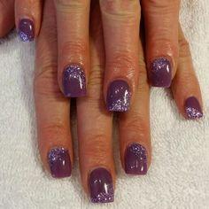 Purple gel and glitter nails