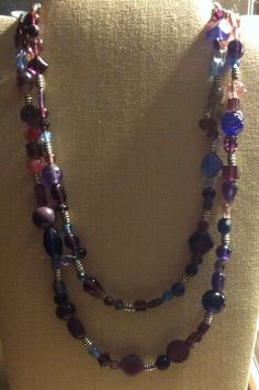 Purple+Glass+Beaded+Double+Strand+Necklace+by+TarasExpressions,+$32.00