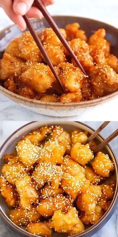 Honey Sesame Chicken - Best-ever and easiest honey sesame chicken recipe with ch. Honey Sesame Chicken - Best-ever and easiest honey sesame chicken recipe with chicken, sticky sweet and savory honey sauce with sesame Comida Diy, Yummy Food, Tasty, Love Food, Great Food, Food To Make, Easy Meals, Easy Snacks, Snacks Ideas