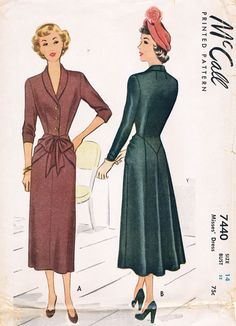 McCall 7440 so elegant. This vintage McCall would easily go from day to night. I see it in periwinkle wool crepe.